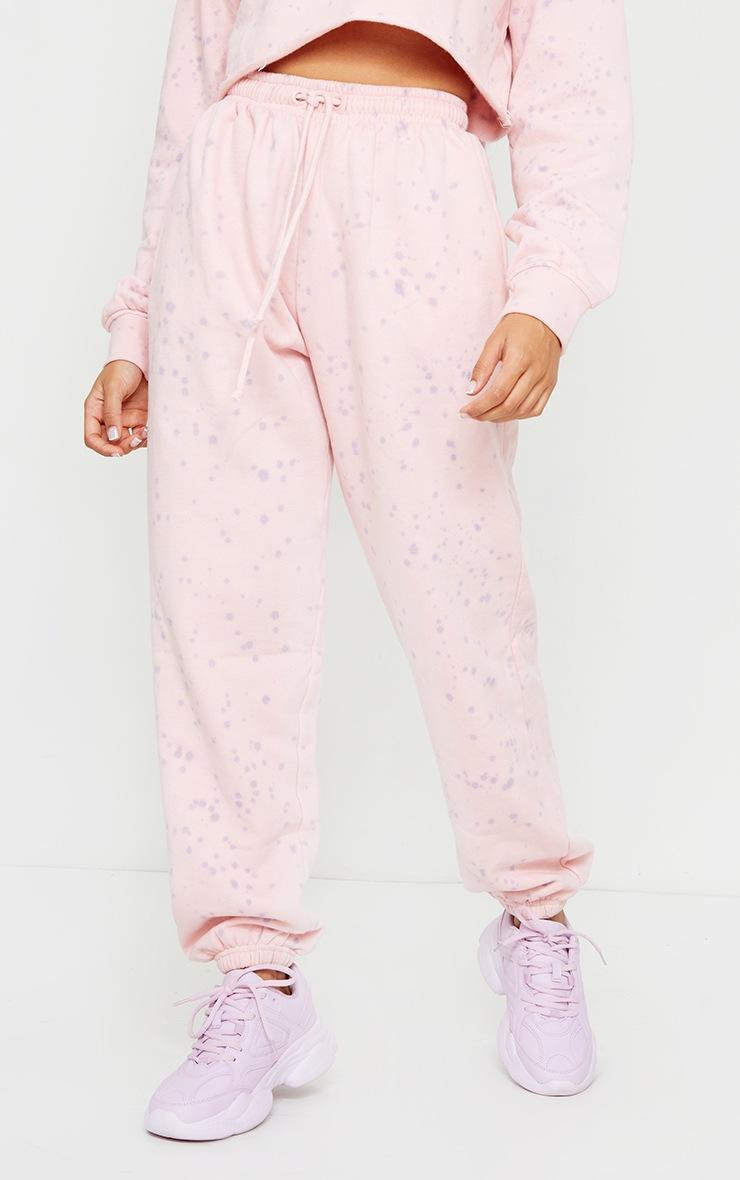 Petite Pink Acid Wash Paint Splatter Joggers 2