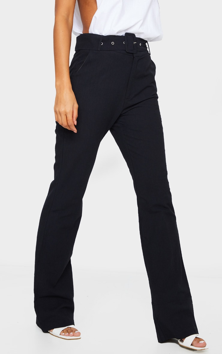 Black Textured Belted Straight Leg Trousers 2