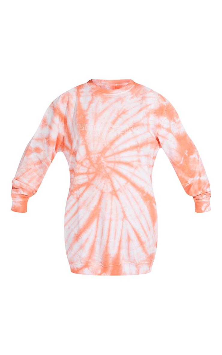 PRETTYLITTLETHING Orange Tie Dye Oversized Sweater Dress 5