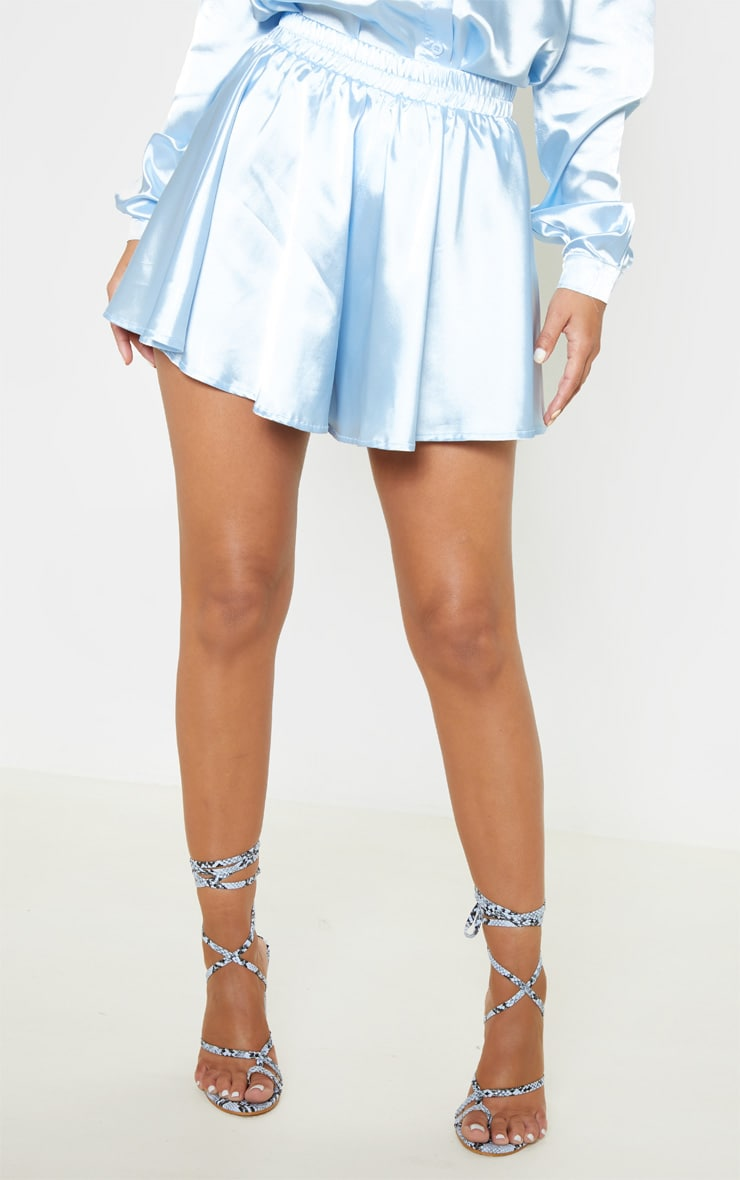 Petite Baby Blue Floaty Satin Shorts 2