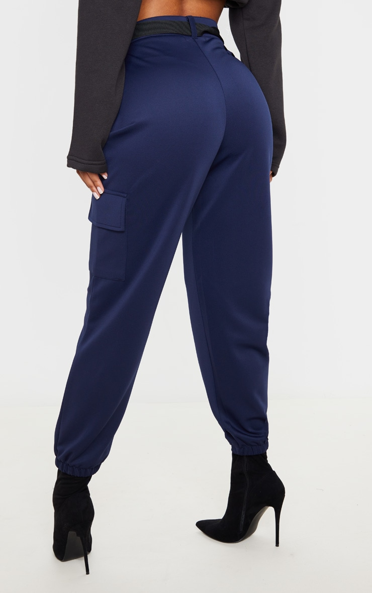 Navy Belted Scuba Cargo Trousers 4
