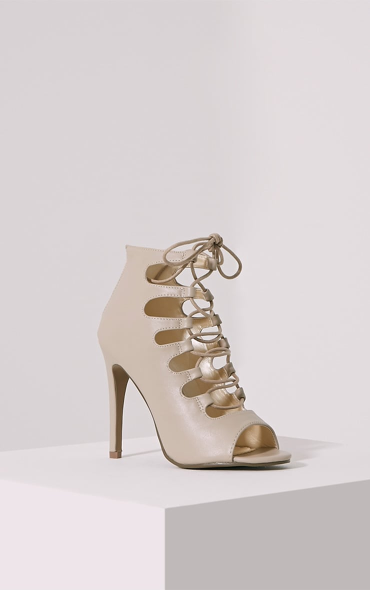 Tiggy Nude Lace Up Heeled Sandals 3