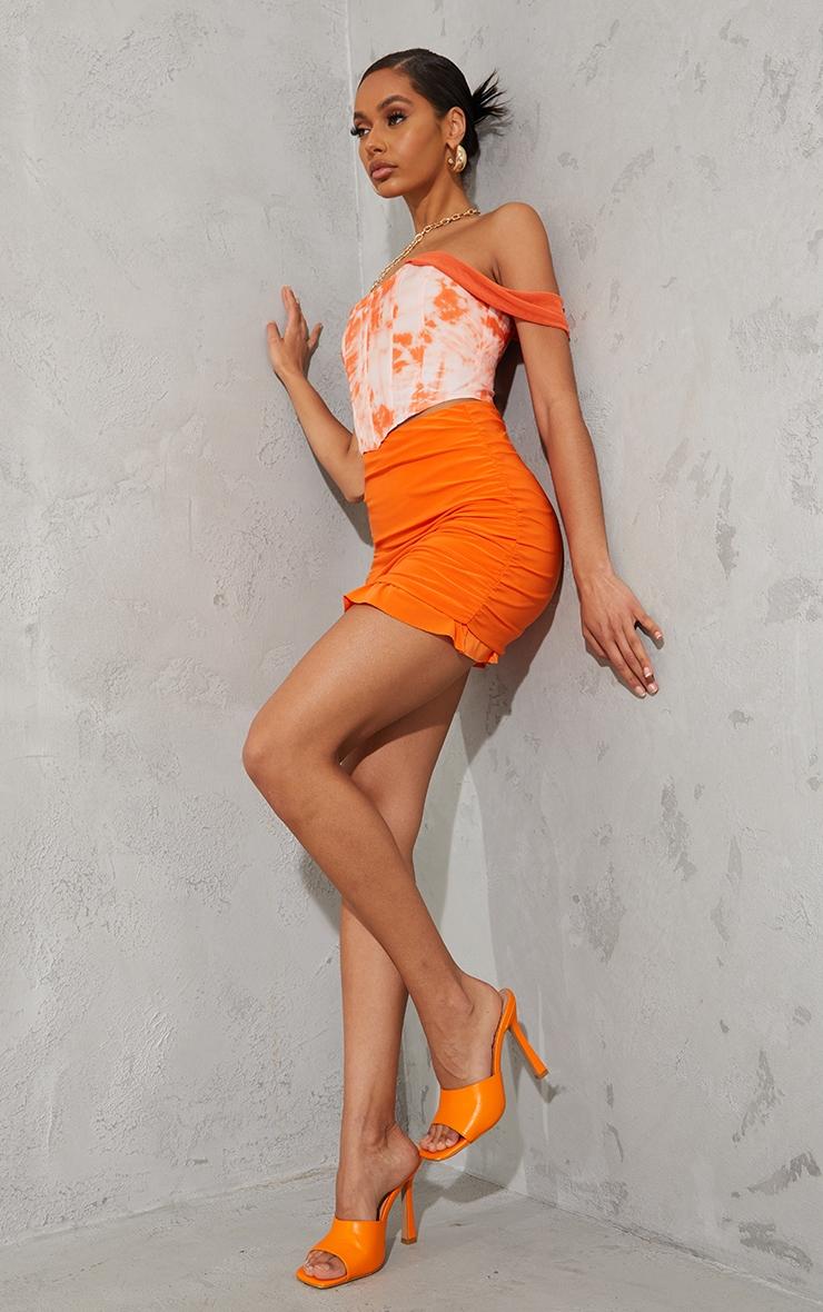 Orange Tie Dye Chiffon Strap Detail Dip Hem Corset 3