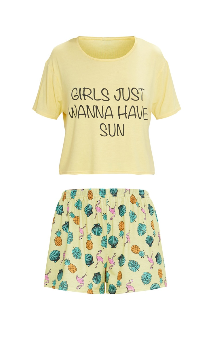 Lemon Girls Just Wanna Have Sun Short PJ Set Pretty Little Thing Official Site Outlet Excellent Outlet Cheap Authentic Buy Cheap Latest Collections Big Sale Cheap Price 21kNX1