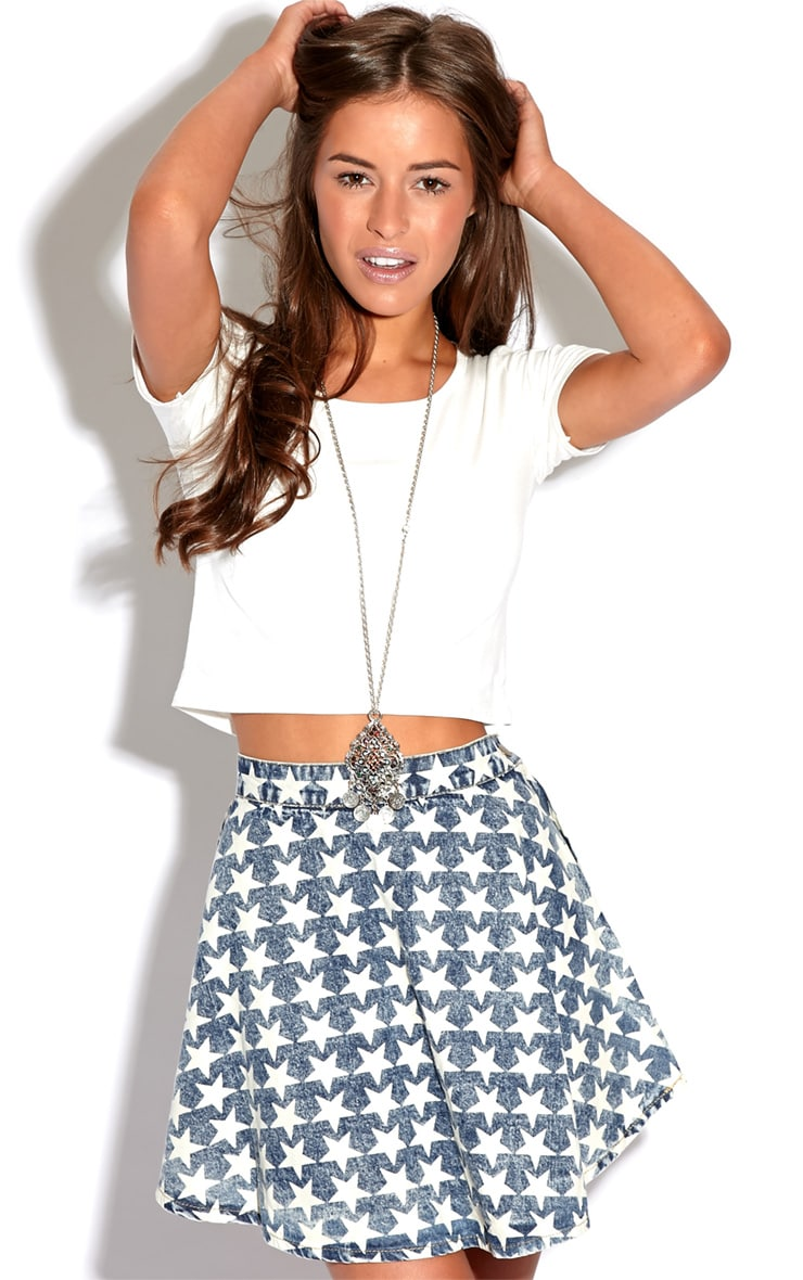 Safaia Acid Wash Blue Denim Skater Skirt With Star Detail  2