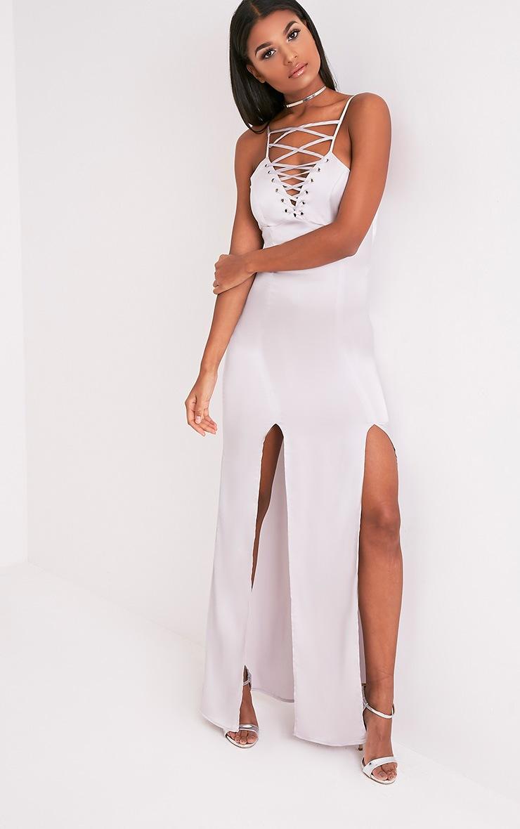 Kiria Silver Grey Lace Up Satin Maxi Dress 5