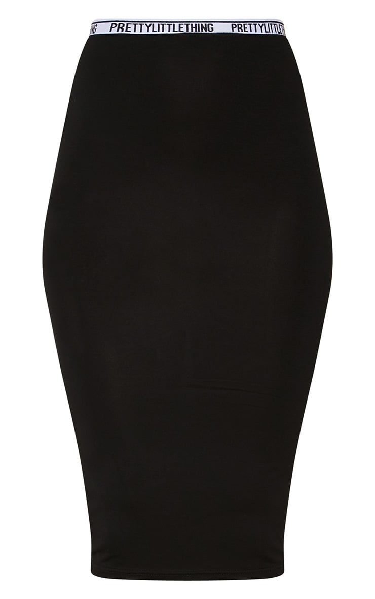 PRETTYLITTLETHING Black Midi Skirt 3