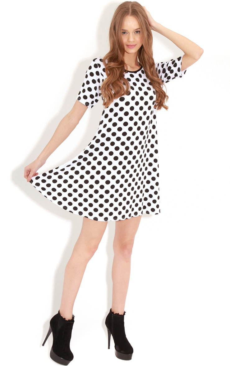 Ruth White Spot Swing Dress 3