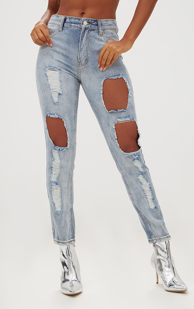 Light Wash Front & Back Distressed Rip Mom Jean 2