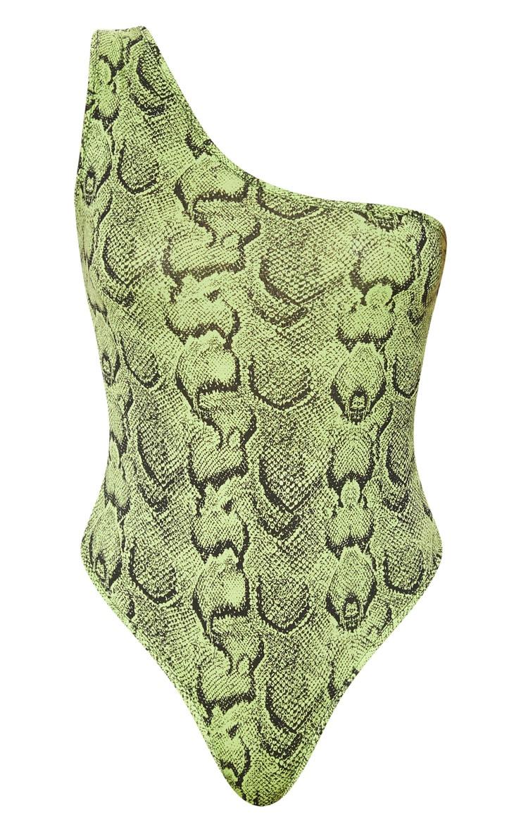 Lime Snake Printed One Shoulder Bodysuit 3