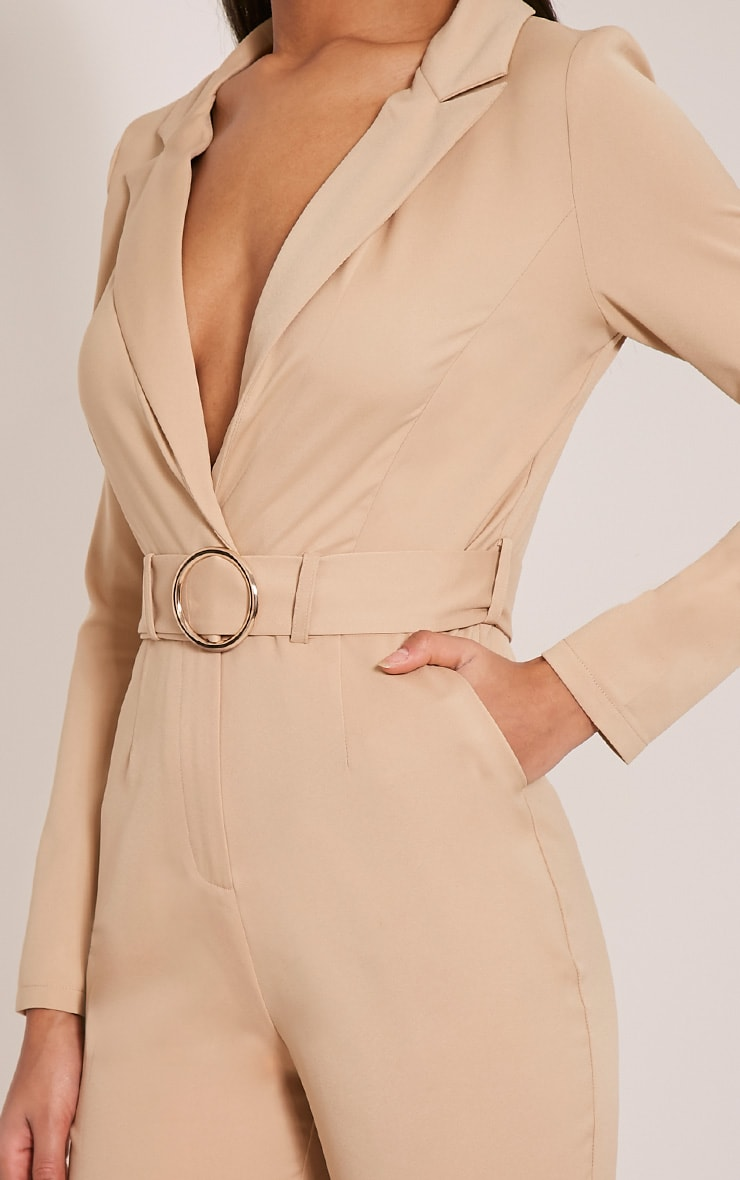 Mell Taupe Wrap Buckle Crop Jumpsuit 6