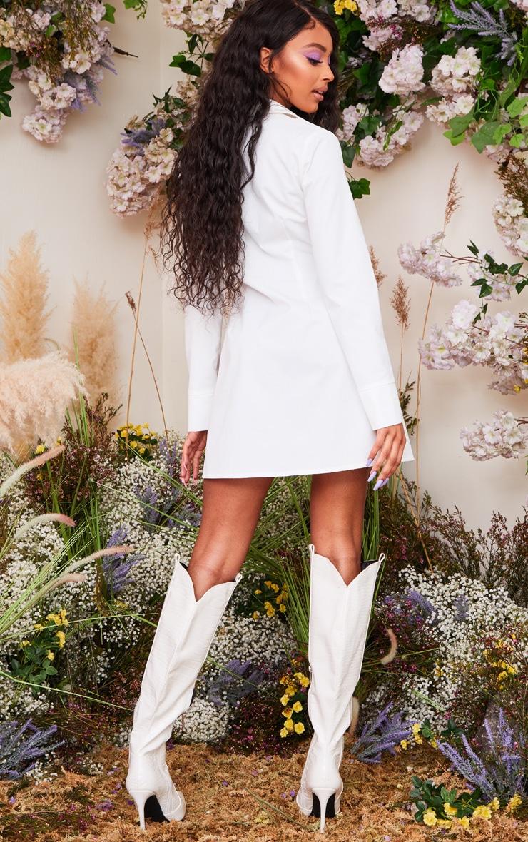 Robe chemise blanche à corset imprimé lacé et manches longues  3