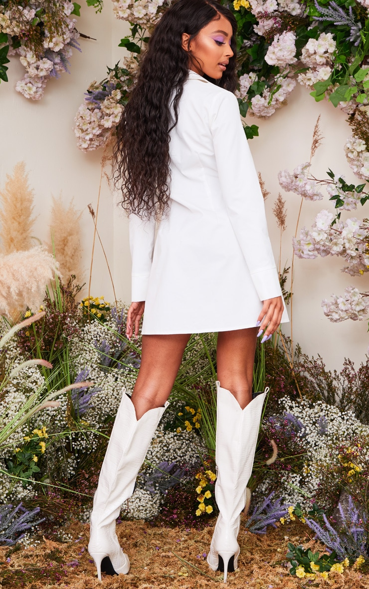 White Lace Up Porcelain Corset Waist Long Sleeve Shirt Dress 2