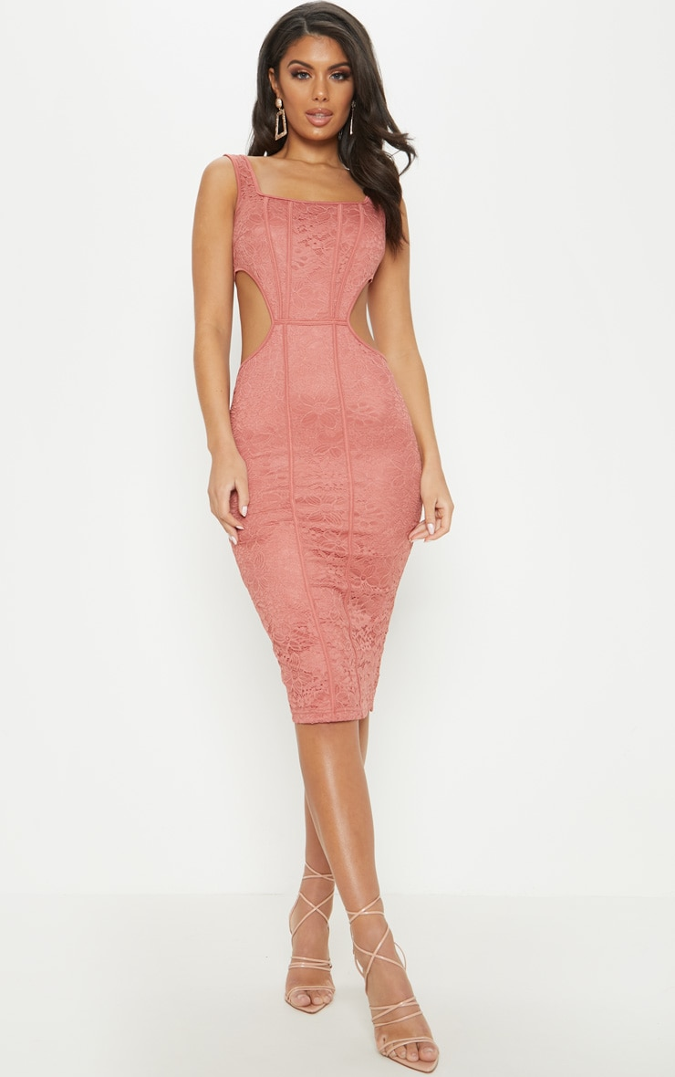 Rose Lace Cut Out Side Square Neck Midi Dress 4