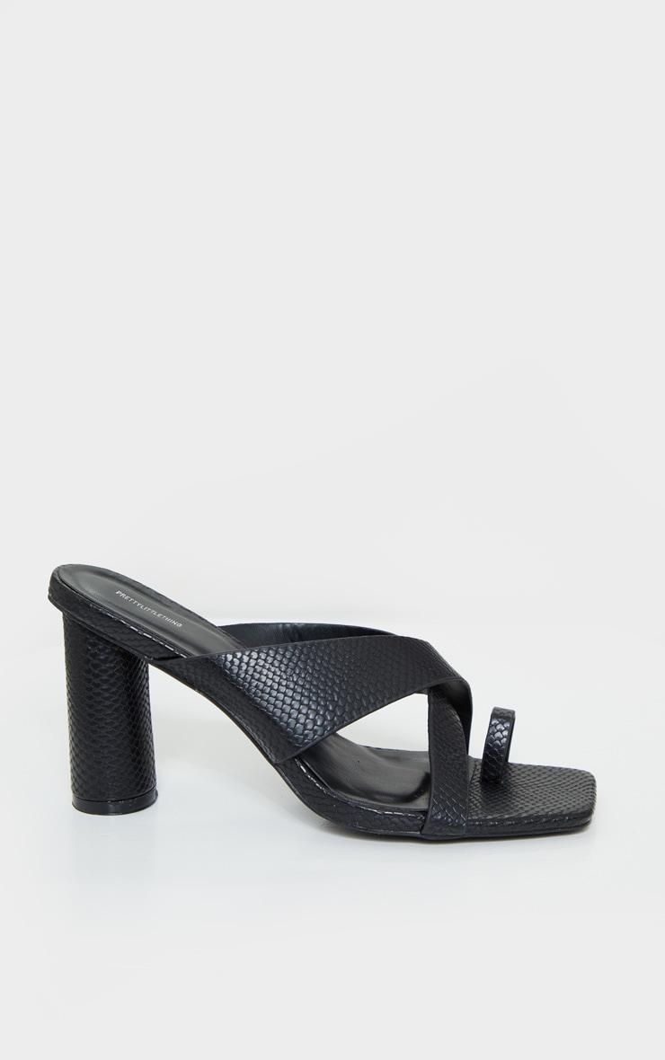 Black Cylinder Heel Toe Loop Cross Strap Mules 3