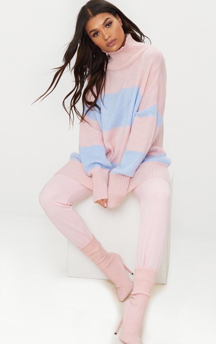 Pale Blue Stripe Oversized Knitted Jumper 1