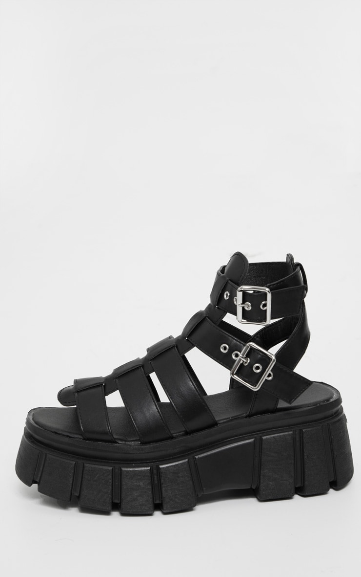 Black Chunky Sole Gladiator Sandals 4