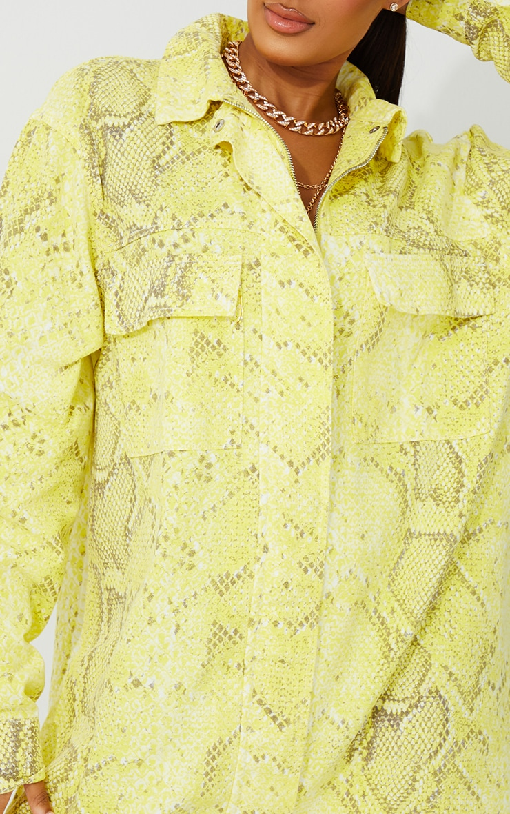 Yellow Snake Printed Denim Dress 4