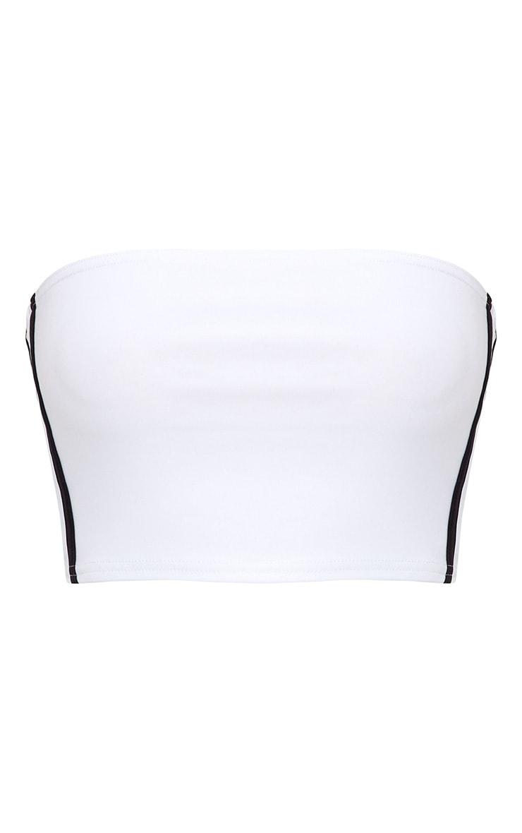 White Slinky Sporty Stripe Bandeau Crop Top  3