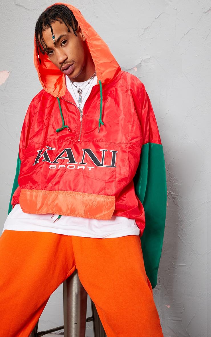 KARL KANI Red Colour Block Oversized Shell Dress 8