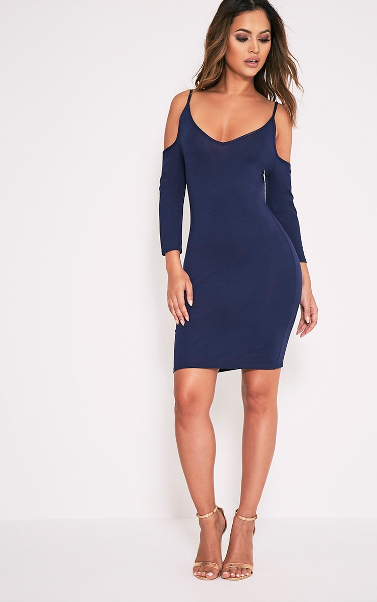 Kaleah Navy Cold Shoulder Bodycon Dress 6