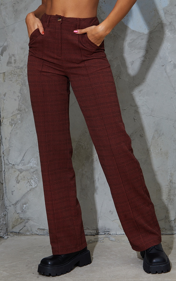 Chocolate Brushed Check Pintuck Detail Straight Leg Pants 2