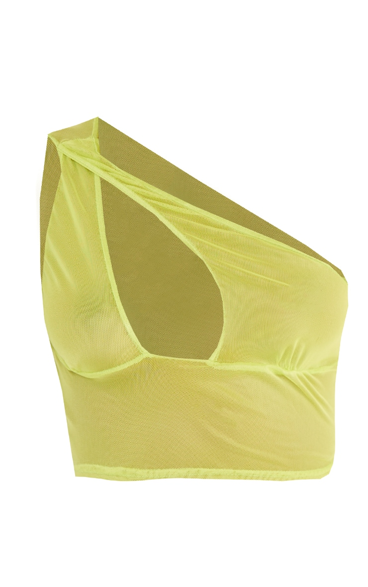 Tall Lime Mesh One Shoulder Crop Top 5