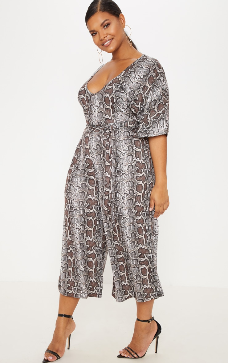 Plus Taupe Snake Print Culotte Jumpsuit 4