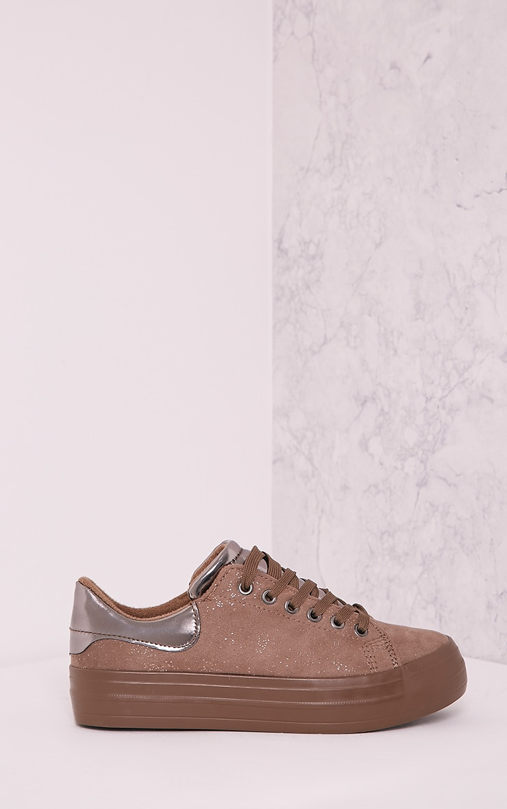 Tyra Camel Faux Suede Lace Up Pumps 3