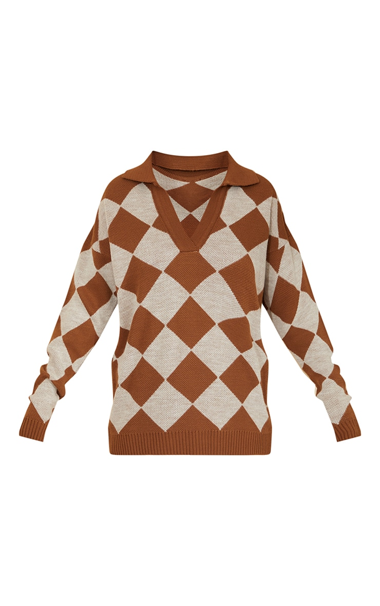 Brown Argyle Pattern Knitted Collared Sweater 5