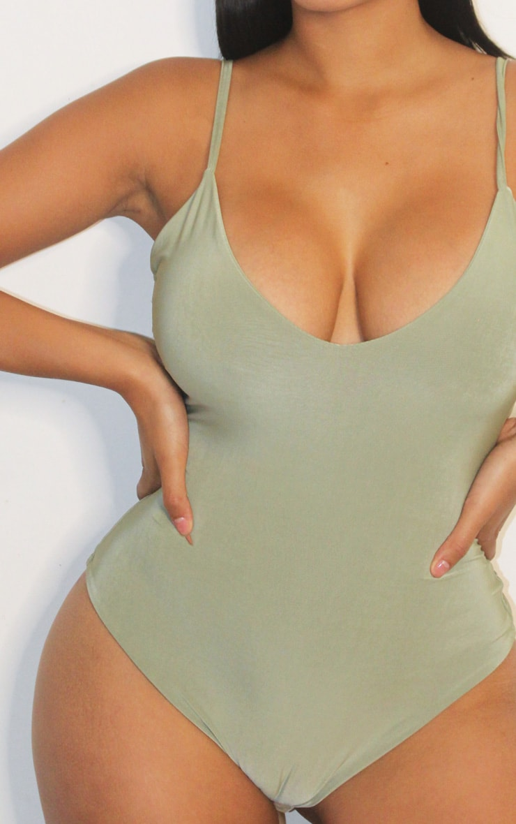 Shape Sage Green Slinky Double Layer Bodysuit 4