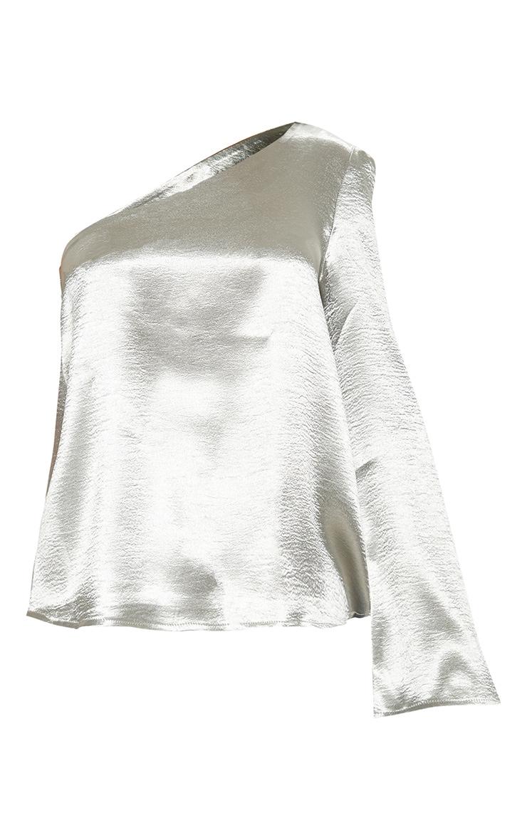 Silver Satin Off Shoulder Blouse  3