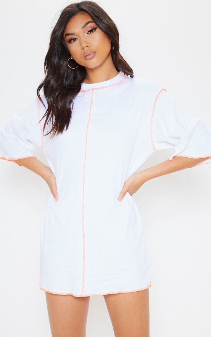 White Neon Stitching Oversized T Shirt Dress 1