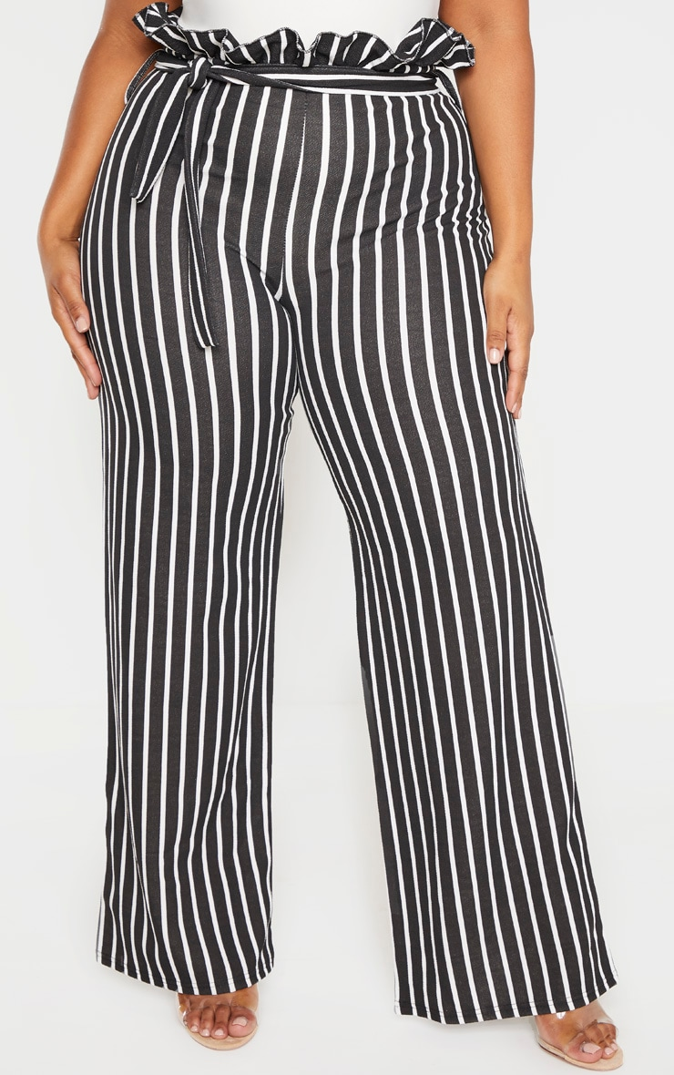 Plus Black Striped Paperbag High Waisted Wide Leg Pants 2