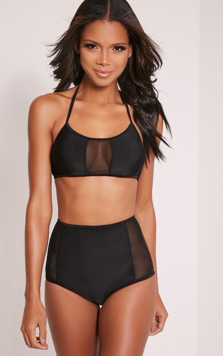 Kia Black Mesh Insert High Waisted Bikini 1