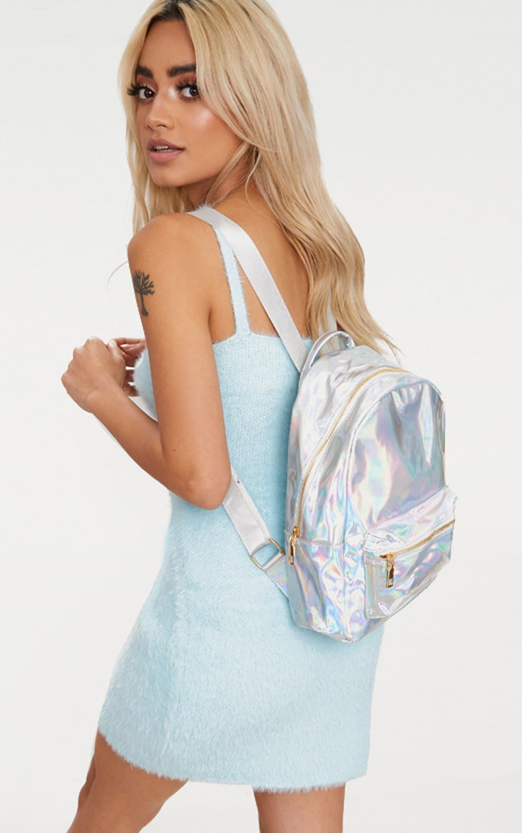 Silver Metallic Backpack 1