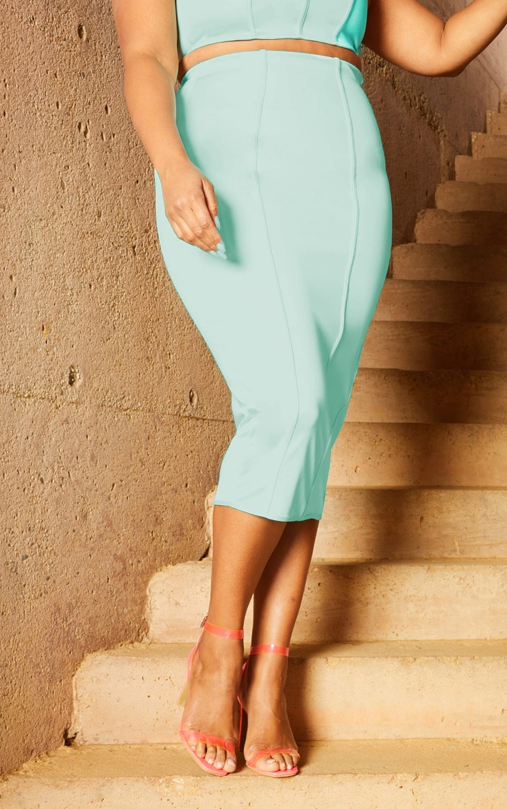 Plus Aqua Second Skin Binding Detail Midi Skirt 2