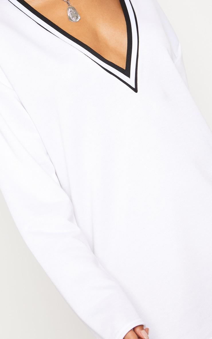 White Stripe Trim Long Sleeve Plunge Jumper Dress 5