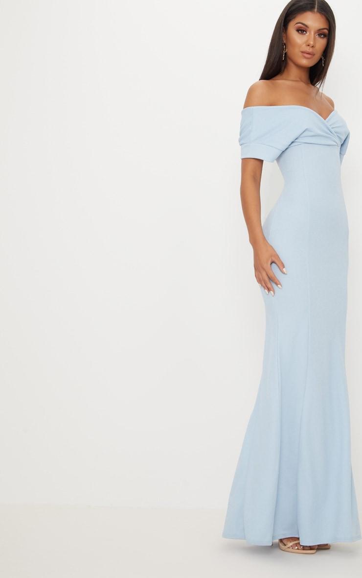 Dusty Blue Off The Shoulder Plunge Maxi Dress 4