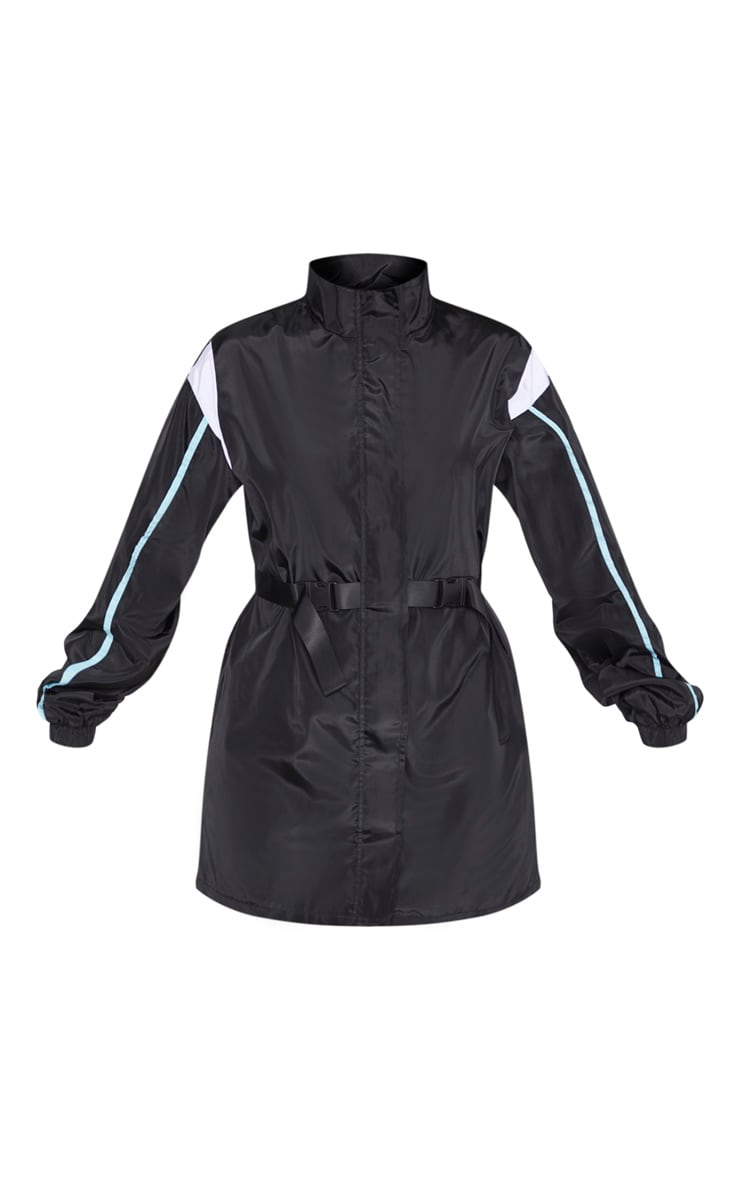 Robe souple ceinturée noire à parties contrastées  3