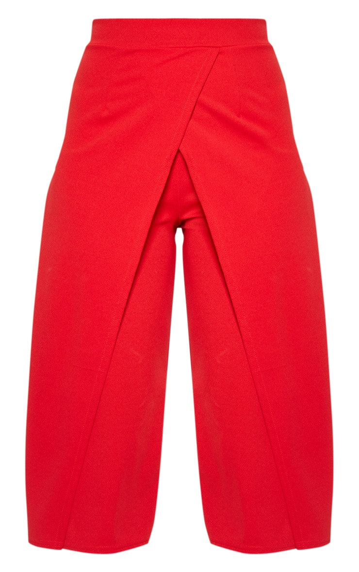 Red Crepe Wrap Detail Culotte 3