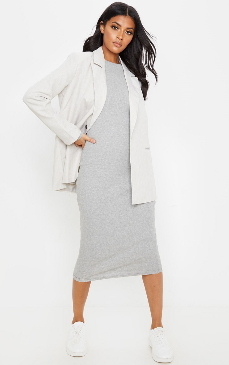 Grey Heavy Rib Long Sleeve Crew Neck Midi Dress 4