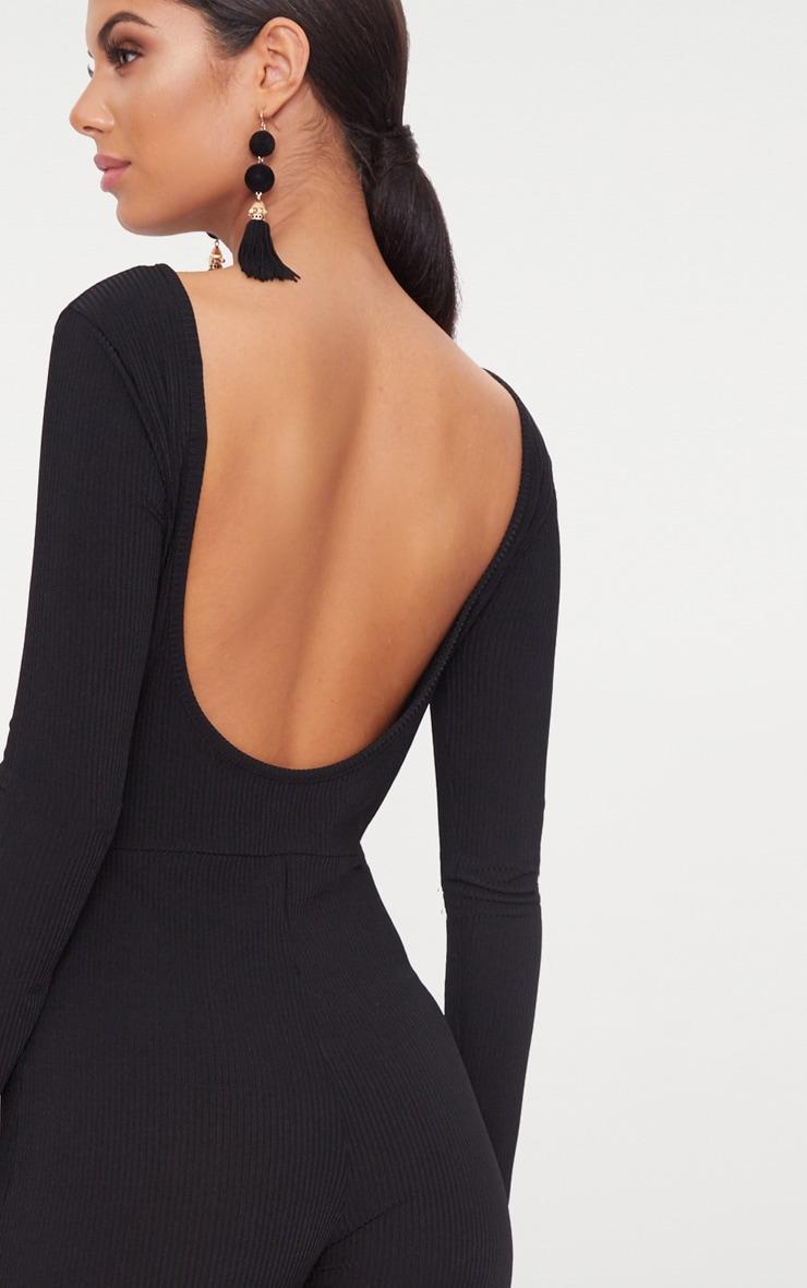 Black Ribbed Long Sleeve Scoop Back Jumpsuit 5