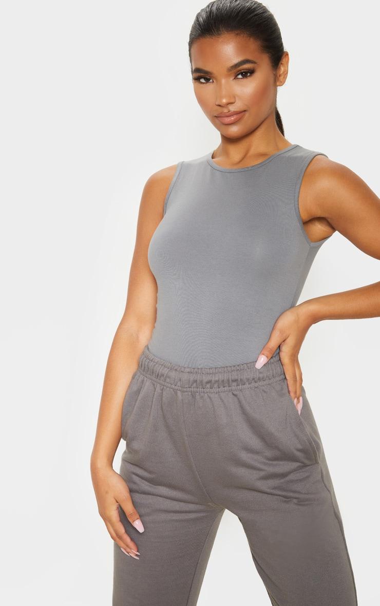 Charcoal Grey High Neck Sleeveless Bodysuit 1