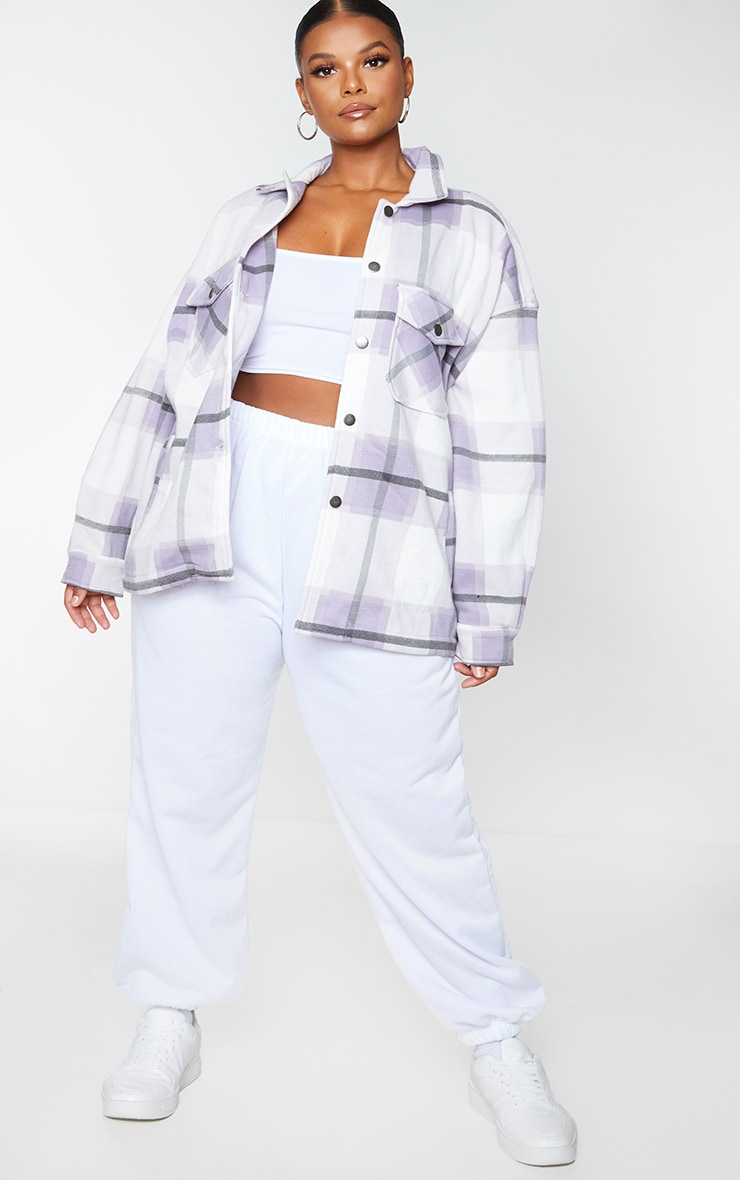 Plus Purple Checked Pocket Front Shacket 1