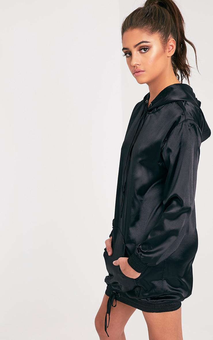 Maya Black Satin Oversized Hoodie Dress 4