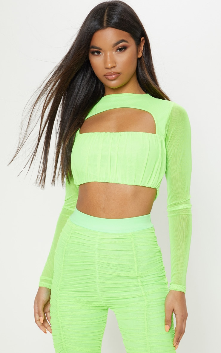 Neon Lime Mesh Cut Out Long Sleeve Crop Top 1
