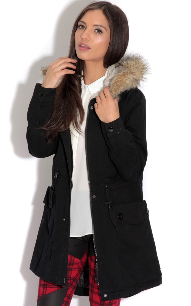 Saskia Black Shearling Parka Coat 1