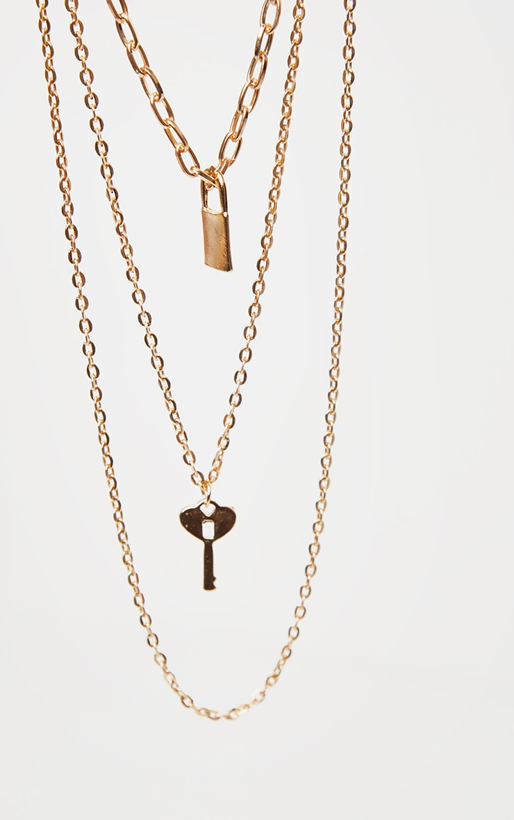 Gold Layered Key And Padlock Necklace 3
