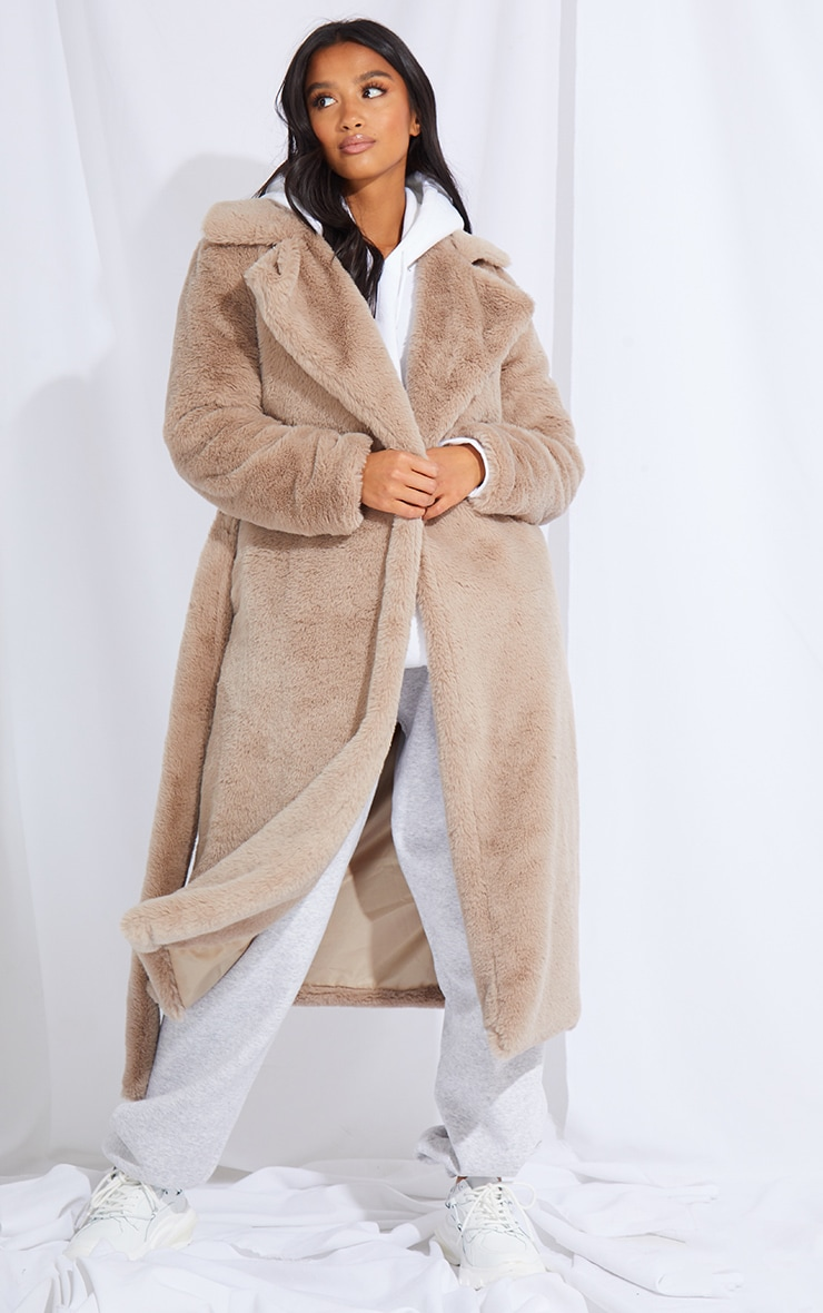 Petite Taupe Belted Faux Fur Coat 3